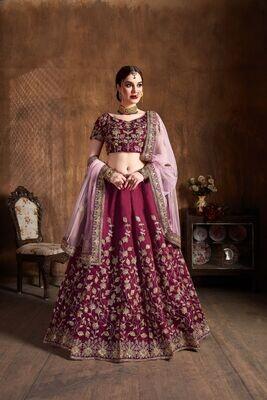 Gorgeous Bridal Wear Heavy Resham Sequence Embroidered Lehenga Choli