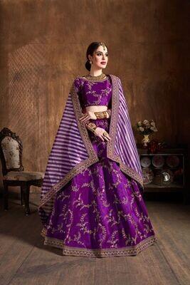 Stunning Wedding Wear Zari Sequence Dori Embroidered Lehenga Choli