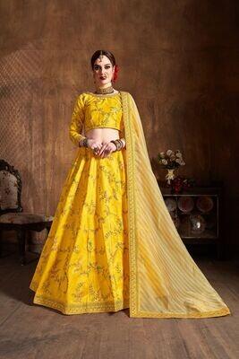 Gorgeous Yellow Color Mulbery Silk Sequence Embellished Lehenga Choli
