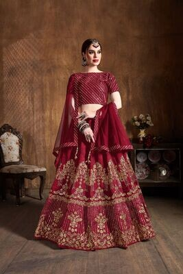 Heavy Art Silk Red Color Zari Sequins Embellished Lehenga Choli
