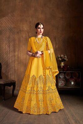 Adoring Yellow Color Art Silk Diamond Work Lehenga Choli