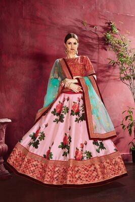 Gorgeous Rose Pink Party Wear Sequins Embellished Lehenga Choli