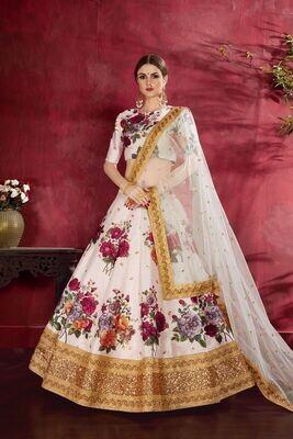 Elegant Offwhite Floral Print Lehenga Choli