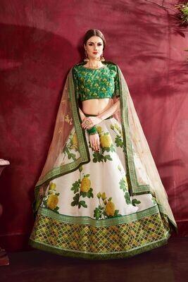 Desirable Cream Green Sequins Zari Embellished Lehenga Choli