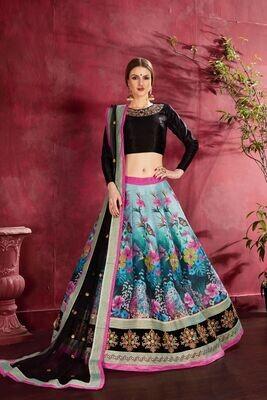 Fancy Designer Black Multicolor Party Wear Lehenga Choli