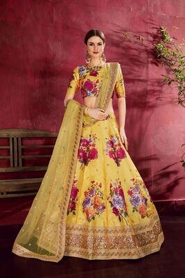 Attractive Yellow Color Floral Print Zari Sequins Embellished Lehenga Choli