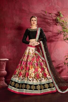 Flattering Black Multicolor Party Wear Sequins Embellished Lehenga Choli