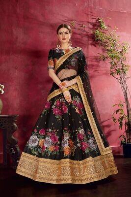 Elegant Black Party Wear Heavy Banglory Silk Lehenga Choli
