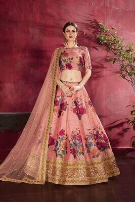 Sensational Peach Color Floral Print Zari Embellished Lehenga Choli