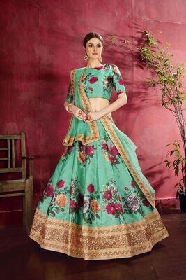 Classy Green Heavy Banglory Silk Lehenga Choli