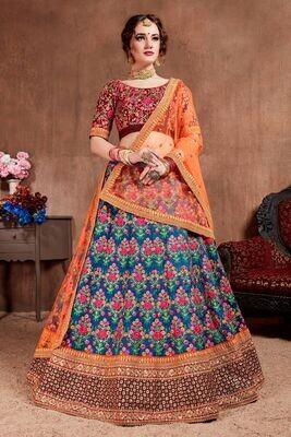 Majesty Navy Blue Thread Zari Embroidery Embellished Lehenga Choli