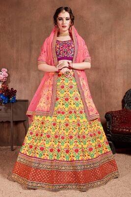 Attractive Yellow Color Mulbery Silk Zari Embellished Lehenga Choli