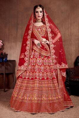 Heavy Bridal Wear Zari Sequins Embellished Lehenga Choli