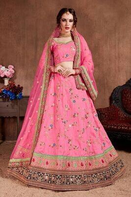 Gorgeous Bridesmaid Wear Rose Pink Heavy Sequins Embroidered Lehenga Choli