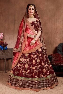 Heavy Tafetta Silk Maroon Color Bridal Lehenga Choli