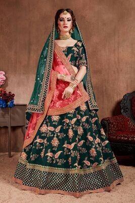 Outstanding Green Bridal Wear Heavy Tafetta Silk Lehenga Choli