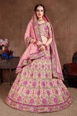 Preety Bridesmaid Wear Pastel Pink Zari Sequins Lehenga Choli