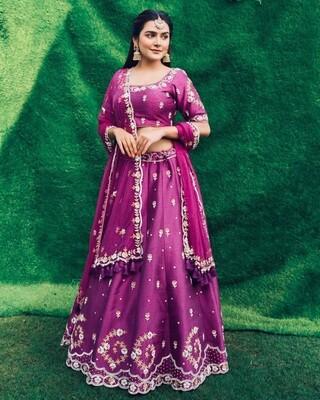 Heavy Embroidered Rubi Silk Lehenga Choli In Purple