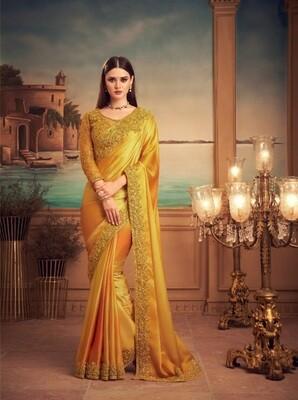 Mustard Color Orange Silk Saree