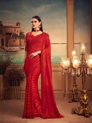 Red Color Shadow Silk Saree