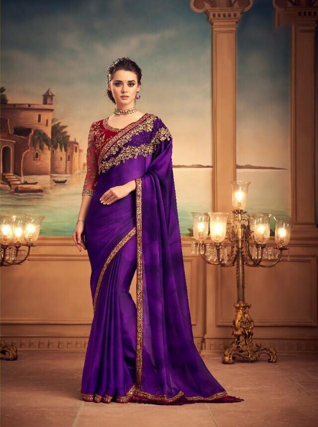 Purple Color Orange Silk Saree