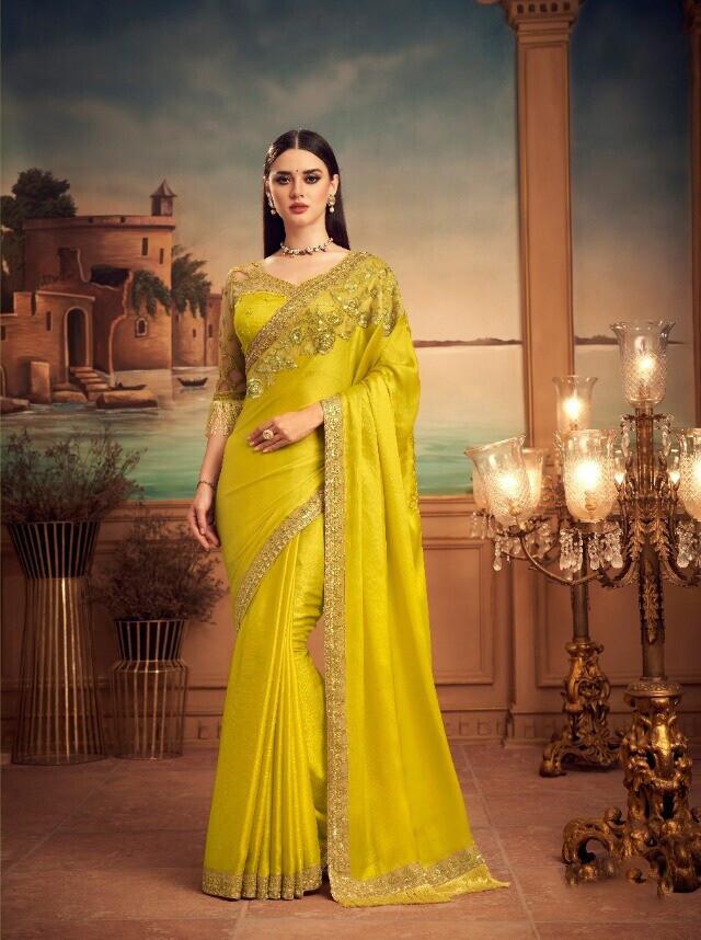 Lemon Yellow Color Magnum Silk Saree