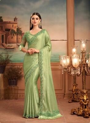 Green Color Milano Silk Saree
