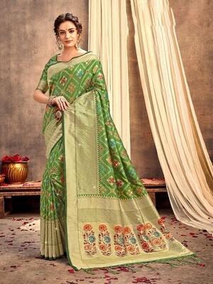 Green Color Weaving Banarasi Silk Saree