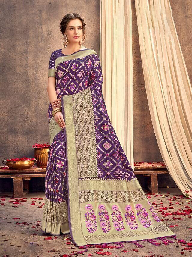Dusty Purple Color Weaving Banarasi Silk Saree