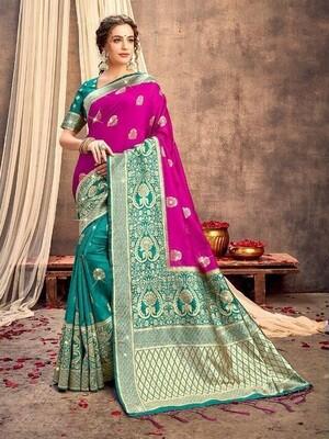 Rani Color Weaving Banarasi Silk Saree