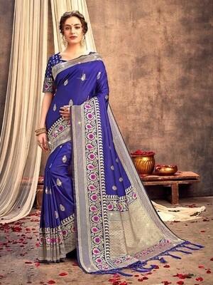 Blue Color Weaving Banarasi Silk Saree