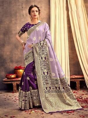 Purple Weaving Banarasi Silk Saree