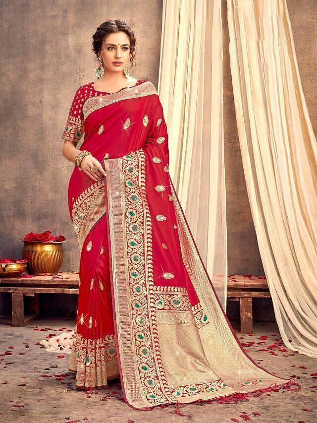 Red Weaving Banarasi Silk Saree