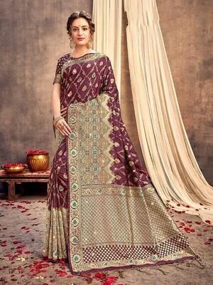 Dark Maroon Weaving Banarasi Silk Saree