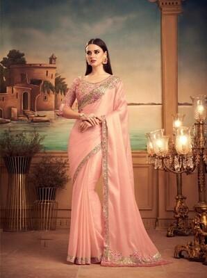 Light Peach Color Milano Silk Saree