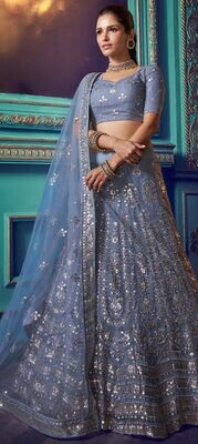 Net Festive Lehenga in Blue with Sequence work