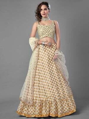 Off-White Designer Lehenga Choli for Women Mirror Work Embroidered & Girlish Latest Trendy Stylish Indian Bridesmaid Bridal Wedding Skirts