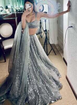 Embellished with all-over Sequins work Lehenga Choli Gray Sequence Work Lengha Choli Indian Wedding Wear Lehenga Dress Skirt Top