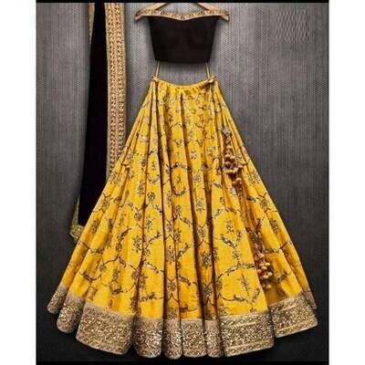 musterd yellow silk sequance embroiderd lehenga-choli