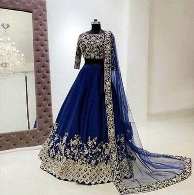Blue Lehenga, Indian Lengha, Designer Blouse, Lehenga Choli, Wedding Dress, Indian Outfit, Bridesmaids Dress, Lengha Blouse, Made To Order