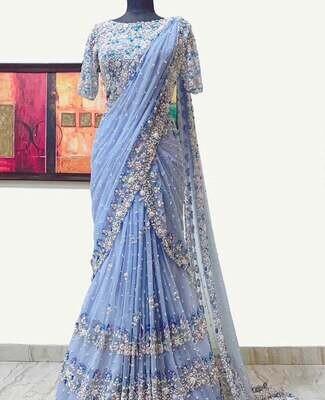 Huge SABYASACHI inspired Designer cut work georgette silk saree, Bollywood style wedding reception outfit diwali dress customised saree