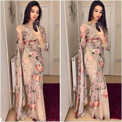 designer Georgette Saree work Printed with pearl lace border saree Unstitched Running Blouse Wear Wedding Wear Party Wear Indian sari