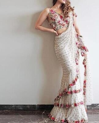 New Indian Designer Embroidery Stunning Colourful Frill Saree With Designor Blouse