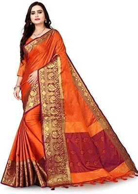 Traditional Pure Cotton Silk Saree With Unstitched Blouse