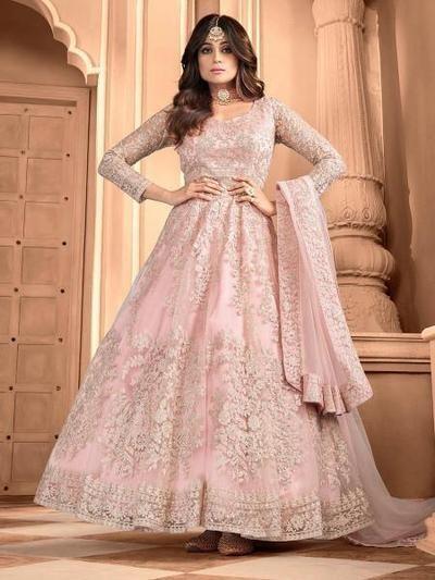 Women's Light Pink Butterfly Net Embroidered Anarkali Suit