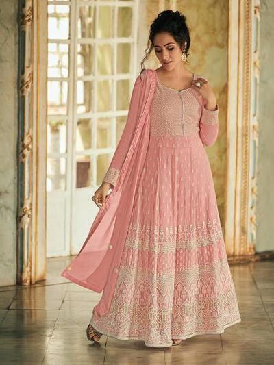 Women's Baby Pink Luckhnowi Work Anarkali Suit