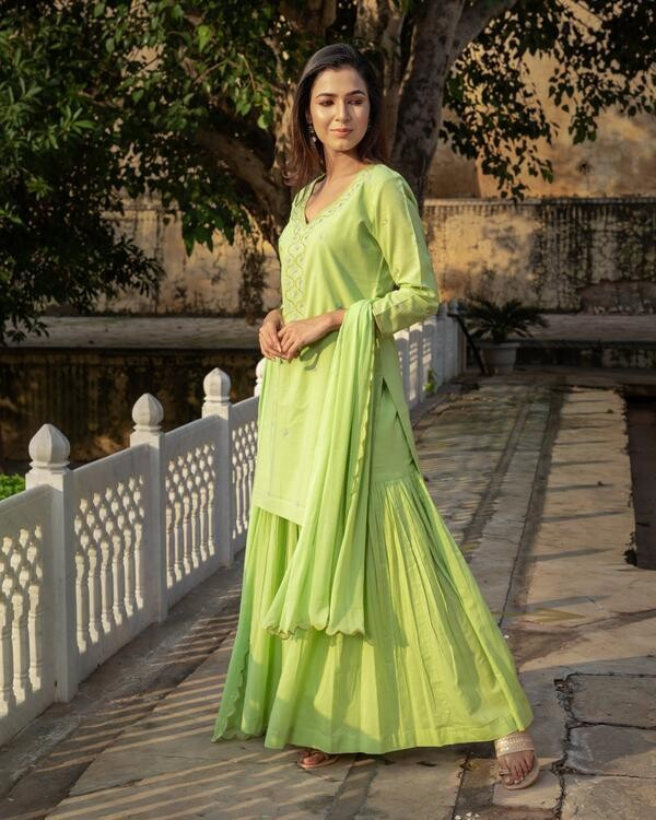 Women's Pista Embroidery Cotton Sharara Suit Set