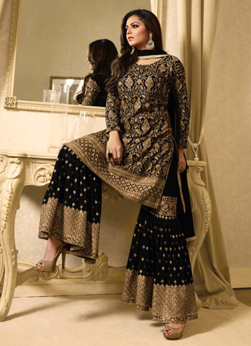 Drashti Dhami Black Embroidered Sharara Suit Party Wear