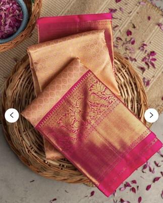 Peach Colore Kanchipuram Soft Lichi Silk Saree Bold And Beautiful Saree With Weaving Silk Exclusive Indian Wedding Saree