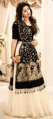 Georgette Party Wear Lehenga in White and Off White with Thread work
